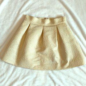 Gold high wasted skater mini skirt